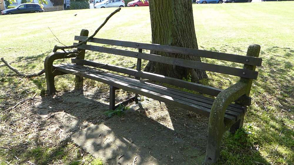 Bench LHS of noticeboard - Bessels Green.JPG